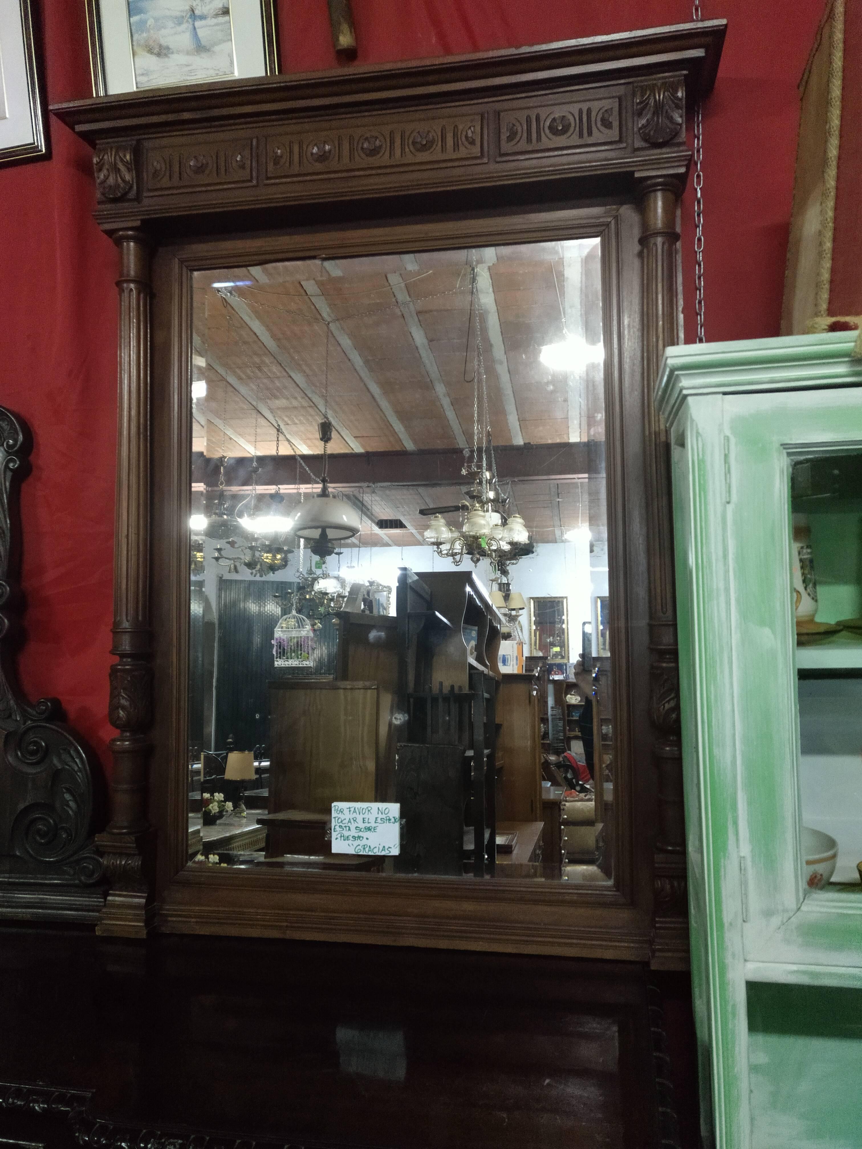 Espejo con cristal biselado con madera de haya