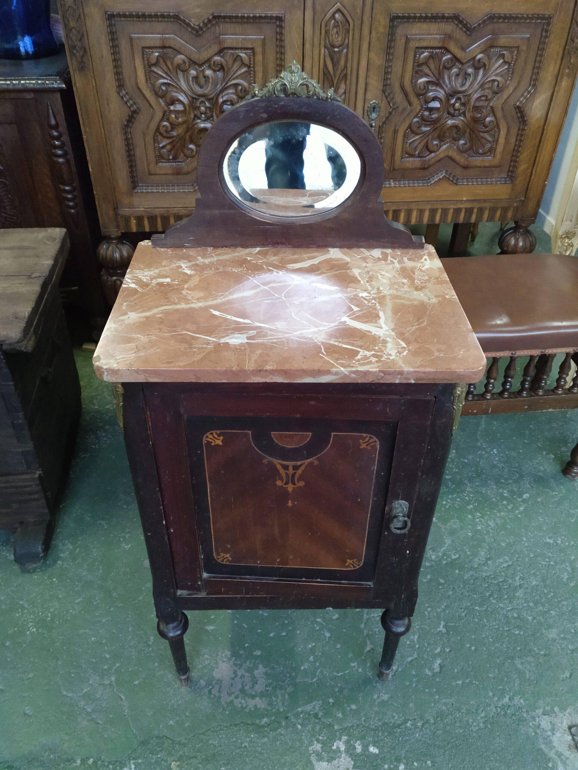 Mesita con tapa de mármol, puerta frontal y cajón interior 1