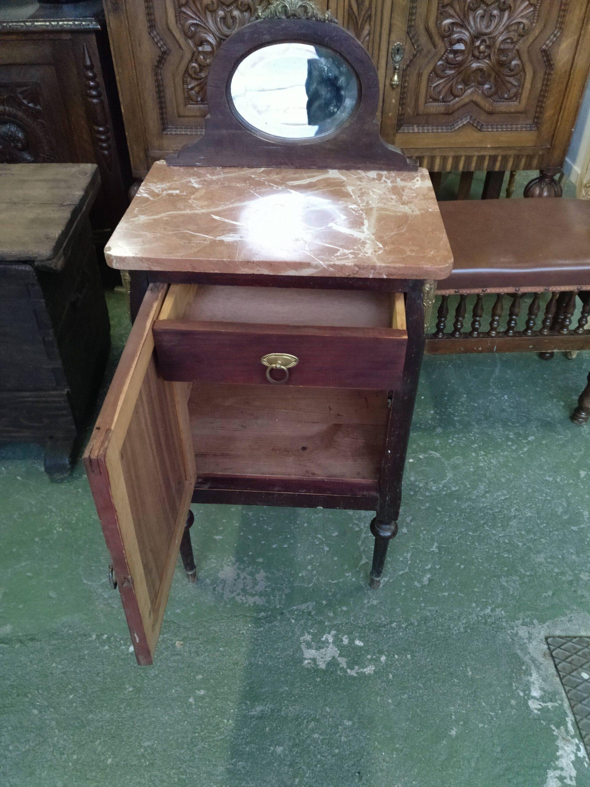 Mesita con tapa de mármol, puerta frontal y cajón interior 2