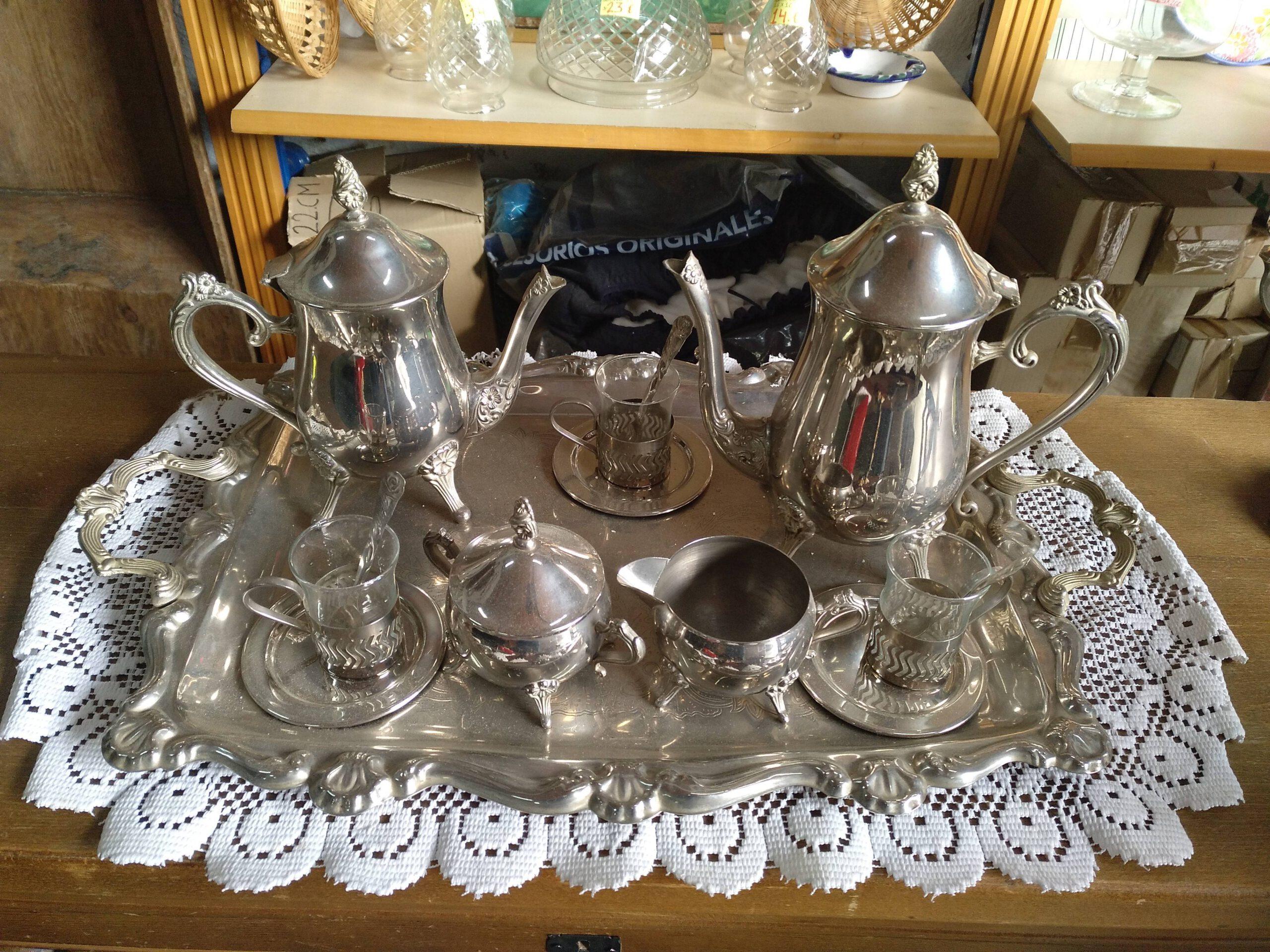 Juego de té y café de alpaca 8 piezas